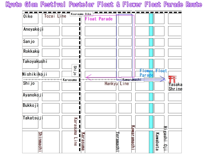 Gion Festival Float Parade and Flower Float Parade Map